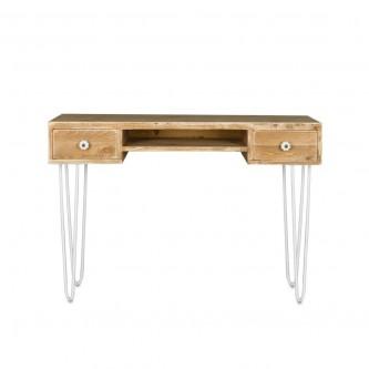 Bureau PAULIN 2 tiroirs en bois massif pieds acier blanc