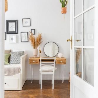 Bureau PAULIN 2 tiroirs bois massif pieds acier blanc