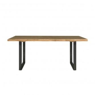 Table à manger CAPUCINE en bois massif pieds acier brut