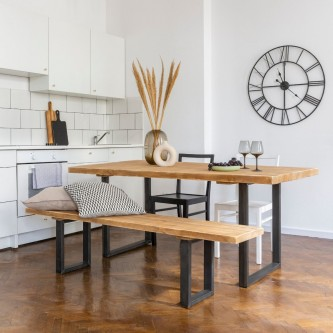 Dining table CAPUCINE solid wood with raw steel legs