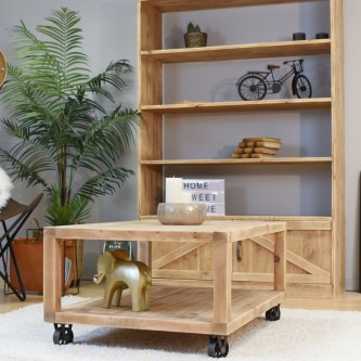 Coffee table JULIETTE with casters solid wood