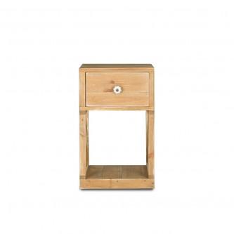 Table de chevet à croisillons CONSTANCE, 1 tiroir, en bois massif