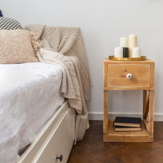 Bedside table CONSTANCE 1 drawer solid wood
