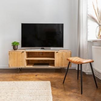 Meuble TV JULES bois massif pieds acier brut