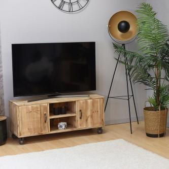Meuble TV MARIUS à roulettes bois massif