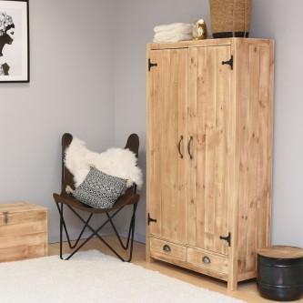 Armoire IRENE 2 portes 2 tiroirs bois massif