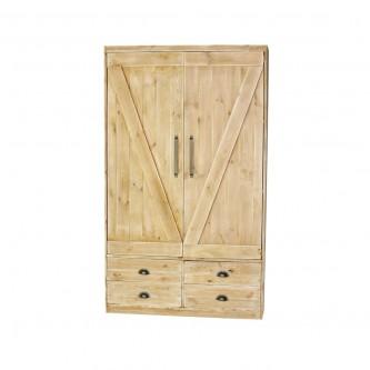 Armoire INES 2 portes 4 tiroirs en bois massif