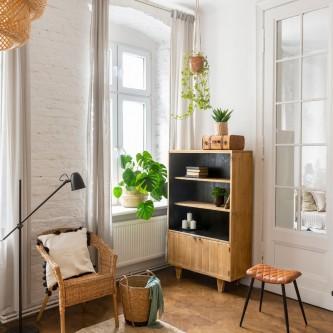Bookcase ANTOINETTE 3 levels 2 doors solid wood