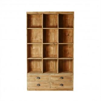 Bibliothèque LUCIE 12 casiers 4 tiroirs en bois massif