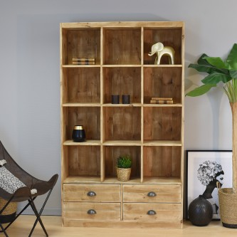 Bookcase 12 cube LUCIE 4 drawers solid wood