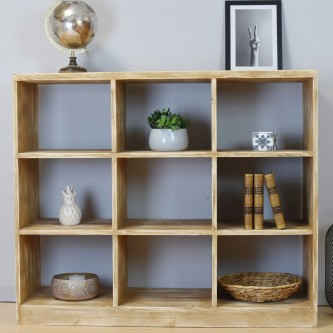 Bookcase LISETTE 9 cube solid wood