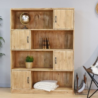 Bookcase 4 doors LOUISE solid wood