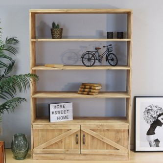 Bookcase APOLLINE 4 levels 2 doors solid wood