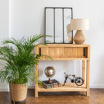 Console table SOLANGE sliding doors solid wood