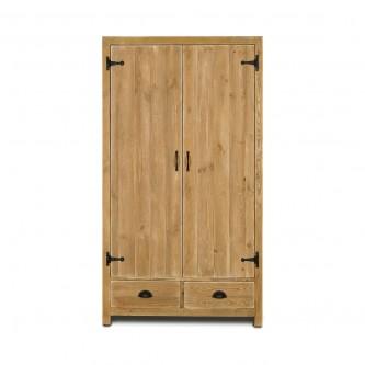 Armoire IRENE 2 portes 2 tiroirs en bois massif