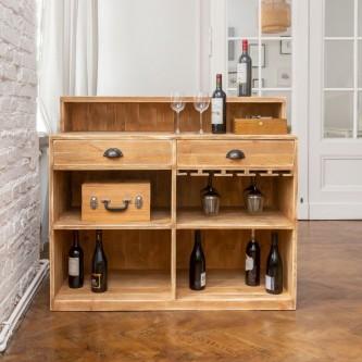 Wine bar LAURENT 2 drawers glass storage solid wood