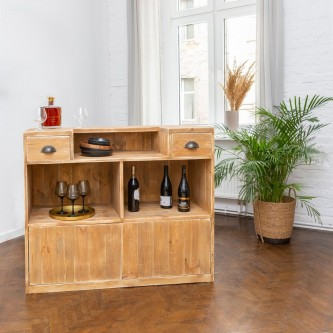 Wine bar GUSTAVE 2 drawers 2 doors solid wood